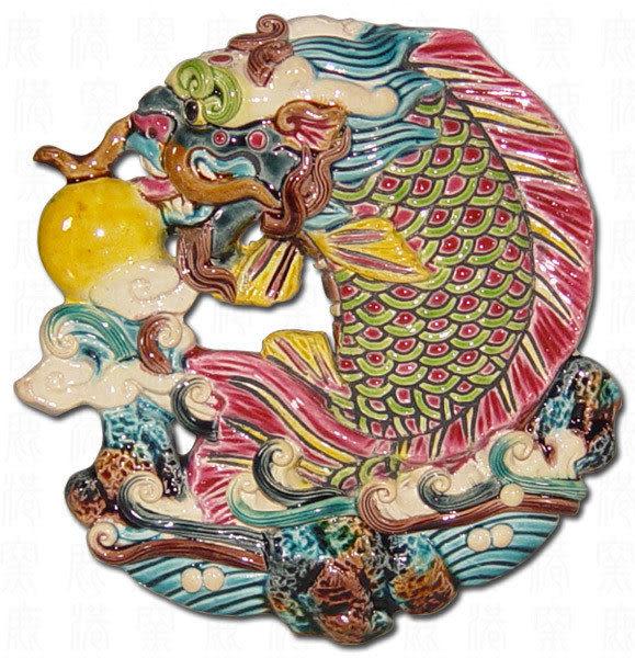 鹿港窯-台灣國寶-交趾陶-居家開運捲軸裱褙裝飾壁飾~S獨佔鰲頭/鯉躍龍門