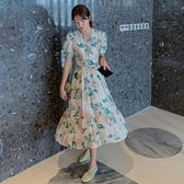 洋裝 短袖韓國東大門 春夏嫩黃襯膚泡泡袖V領收腰連身裙DB603A依佳衣