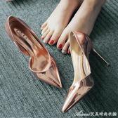 春夏新款尖頭高跟鞋細跟OL通勤漆皮女鞋淺口百搭銀色單鞋涼鞋