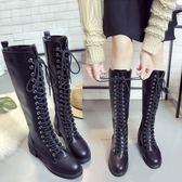 騎士長靴子繫帶加絨高筒靴粗跟長筒馬丁靴及膝靴英倫女靴  『魔法鞋櫃』