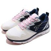 DIADORA 慢跑鞋 白 藍 極羽輕跑鞋 透氣網布 超輕量大底 運動鞋 女鞋【PUMP306】 DA8AWR6018
