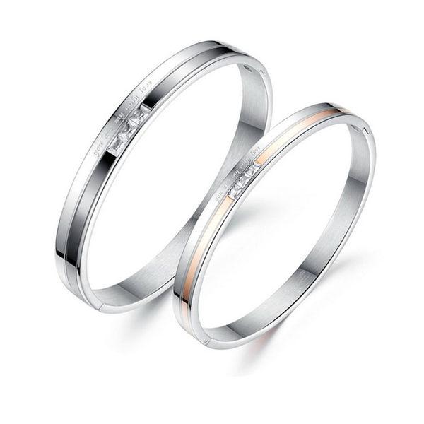 【5折超值價】  【316L西德鈦鋼】最新款流行時尚唯美經典特色鑲鑽情侶款手環