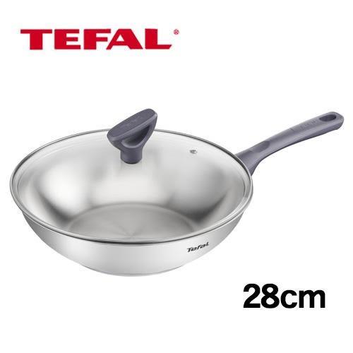 法國特福 好食光不鏽鋼小炒鍋-附蓋(28cm)【愛買】