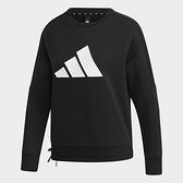 Adidas STR SWEAT 女裝 長袖 大學T 休閒 胸前LOGO 可調式下擺 黑【運動世界】GP0718