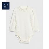 Gap女嬰兒闪亮风格半高领长袖连体衣497508-象牙白