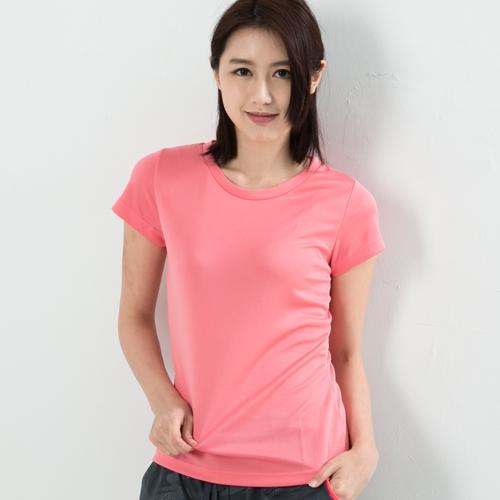 女款排汗T  CoolMax 吸濕快乾 機能涼感 舒適運動 粉紅色