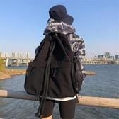 正韓小眾抽繩系帶大容量後背包復古休閒帆布背包簡約百搭書包【端午鉅惠】
