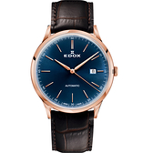 EDOX Les Vauberts 系列日期自動機械錶-藍x咖啡/41mm E80106.37RC.BUIR