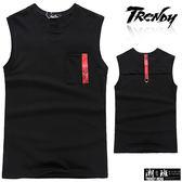 『潮段班』【SD031871】L-XL胸前口袋背後帶子設計素面無袖背心上衣