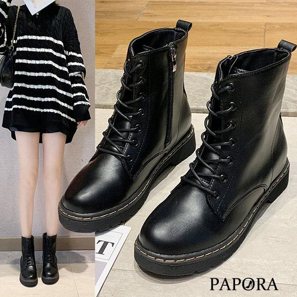 PAPORA時尚側拉鍊馬丁靴中筒靴KA99黑(偏小)