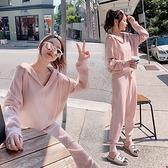 針織套裝 春秋季套裝女新款小個子休閑針織職業兩件套洋氣時尚褲子