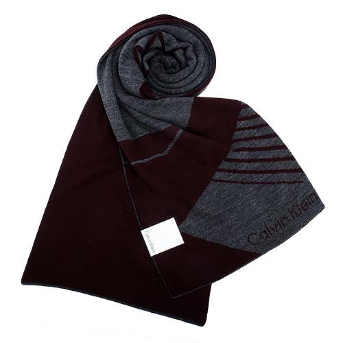 Calvin Klein CK新款斜紋圖騰雙色LOGO圍巾(酒紅色)103211-3