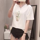 XL-4XL胖妹妹短袖T恤~934#胖MM200斤V領上衣短袖t恤加肥加大大碼女裝5F044衣時尚