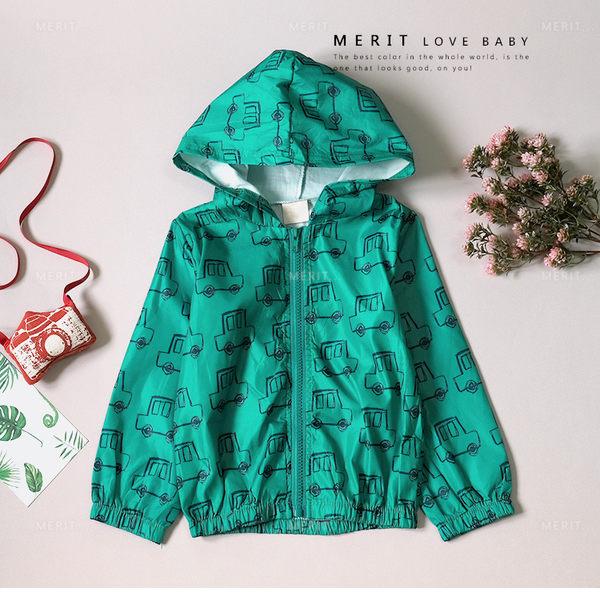 童趣手繪汽車玩具連帽風衣外套 防風外套 休閒 綠色 車車 兒童外套 秋外套 男童外套 哎北比童裝