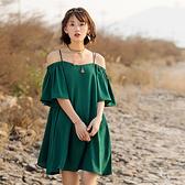洋裝-一字領韓版時尚純色寬鬆連身裙73ha20[巴黎精品]