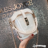 夏天水桶高級感網紅小眾包包女2019新款透明洋氣果凍2020潮斜背包 Cocoa