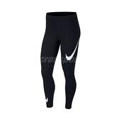 Nike 長褲 NSW Swoosh Leggings 黑 白 女款 緊身褲 運動休閒 【ACS】 CJ2656-013