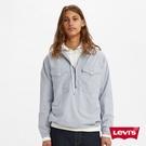 Levis 男款 半開襟長袖條紋襯衫 / 寬鬆休閒版型 / 復古大口袋 / 下擺抽繩
