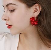 新年耳飾 戴拉925銀針紅色大花朵耳環女 2021年新款潮春喜慶新年結婚耳飾【快速出貨八折搶購】
