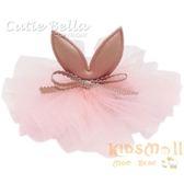 Cutie Bella小兔耳雪紡花全包布手工髮夾-Bunny Lace Flower-Peach
