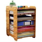 辦公收納盒木質文件架子多層A4文件夾收納盒 cf
