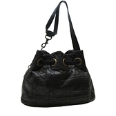 Dior 迪奧 黑色藤格紋羊皮Cannage縫線古銅D釦肩背包 Drawstring Bucket Bag 【二手名牌BRAND OFF】