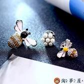 日系可愛套裝胸針森系小蜜蜂小別針領針扣衣服固定背帶【淘夢屋】