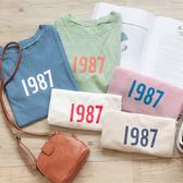 MUMU【T13677】簡約數字1987圓領上衣。五色