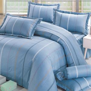 BUTTERFLY-純棉條紋四件式被套床包組-品味-藍(加大)