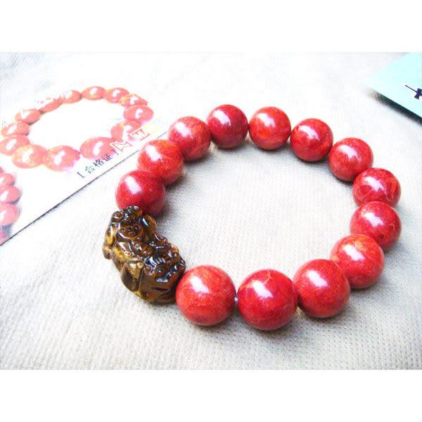 天然紅珊瑚手鏈1.5cm配黃虎眼石貔貅佛珠