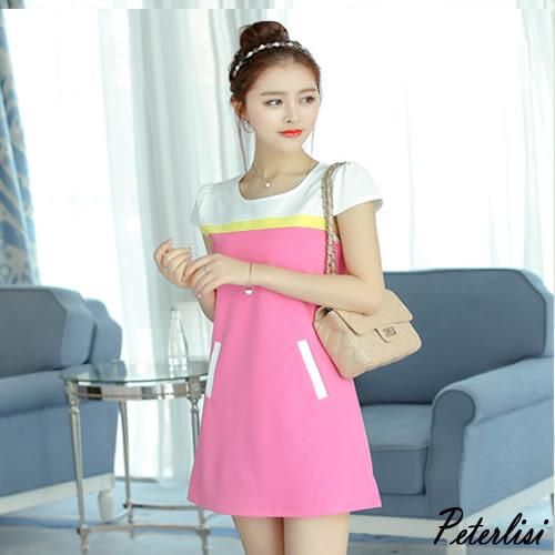 韓版性感修身短袖拼接時尚連衣裙 0471H 彼得麗絲