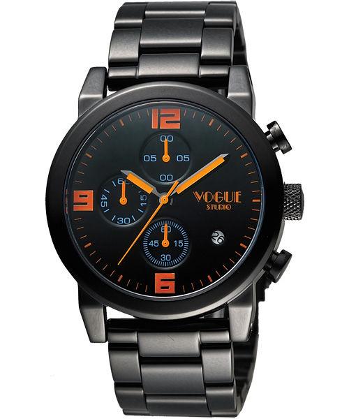 VOGUE 嶄新系列品味計時腕錶-黑x橘/42mm 2V1407-251D-D