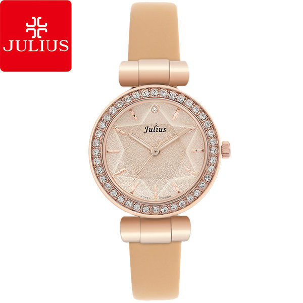 JULIUS 聚利時 閃耀星辰水鑽皮帶腕錶-杏色/30mm 【JA-778C】