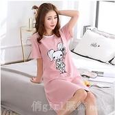 家居服 睡衣女夏季睡裙短裙短袖半袖薄款可愛純棉全棉學生韓版夏天 618購物節