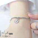 Lilac.925純銀復古錢幣吊墜不對稱手鍊手環【s382】911 SHOP