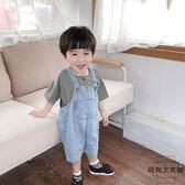 男寶寶吊帶褲兒童牛仔褲女童七分褲小童褲子【時尚大衣櫥】