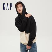 Gap男裝 時尚撞色連帽休閒上衣 627530-黑色
