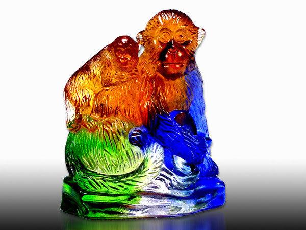 鹿港窯-居家開運商品-琉璃S十二生肖文鎮【猴】附精美包裝◆免運費送到家