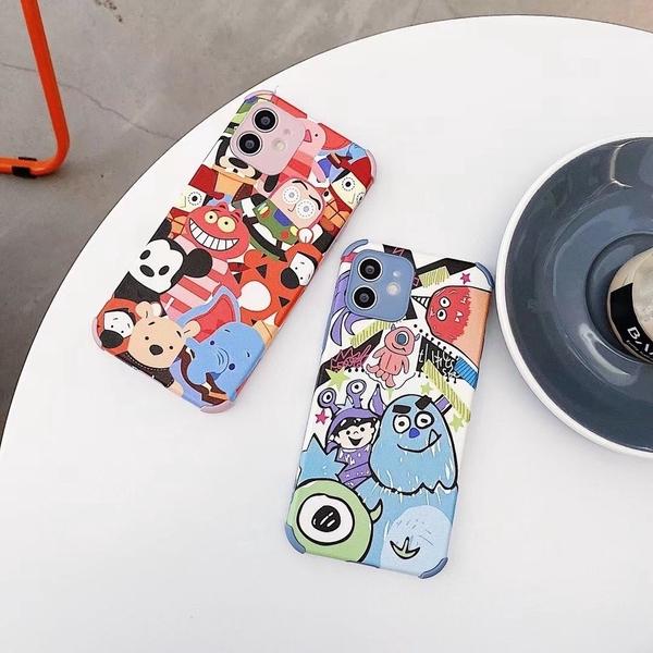 怪獸插畫 iPhone SE2 XS Max XR i7 i8 plus 浮雕手機殼 迪士尼人物 保護鏡頭 全包蠶絲 四角加厚 防摔軟殼