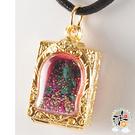 黃財神(綠松石)+供珠佛牌 黑繩項鍊 【十方佛教文物】