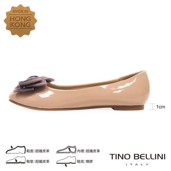 Tino Bellini 層次緞帶蝴蝶結小方頭娃娃鞋_ 膚 F83013