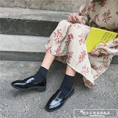英倫風復古樂福鞋女2018秋冬季新款韓版百搭學生平底小皮鞋單鞋子『韓女王』