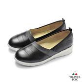 TRAVEL FOX(女) 牛革舒適休閒娃娃鞋-黑