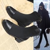馬丁靴女2020新款短靴英倫風瘦瘦靴短筒中跟靴子網紅顯瘦彈力襪靴 貝芙莉