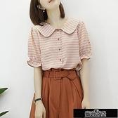2020夏裝新款韓版學院風格子娃娃領襯衫女撞色紐扣設計感洋氣【全館免運】