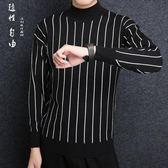 秋冬男式豎條半高領潮版寬鬆打底針織毛衣 男針織衫套頭衫男生毛衣《印象精品》t6585