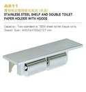 【 麗室衛浴】 國產  G-398-2置物板式雙捲衛生紙架 (有蓋) A811