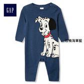 Gap x Disney男嬰兒 迪士尼系列純棉斑點狗針織一件式長袖包屁衣 926756-石楠海軍藍