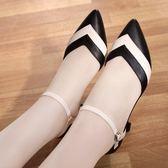 尖頭涼鞋 真皮中跟涼鞋春夏包頭女鞋尖頭細跟中空貓跟單鞋 coco衣巷