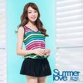 【夏之戀SUMMERLOVE】加大碼條紋連身裙兩件式泳裝(S17712)